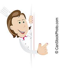 chef cuistot, cuisinier, femme, signe blanc
