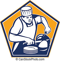 chef cuistot, cuisinier, partage, jambon, retro