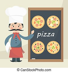chef cuistot, cuisinier, pizza., menu