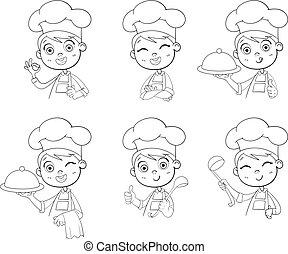 chef cuistot, cuisinier, sourire, collection, heureux