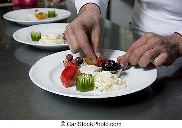 chef cuistot, décorer, apéritif