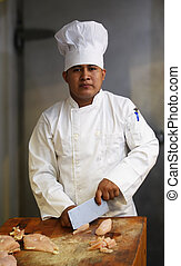 chef cuistot, découpage, 2, viande