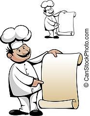 chef cuistot, dans, uniforme, à, menu