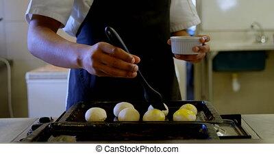 chef cuistot, demande, pâte, cuisine, 4k, huile