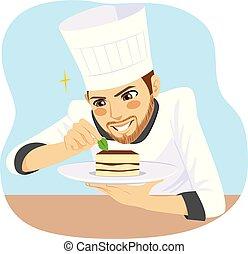 chef cuistot, dessert, homme