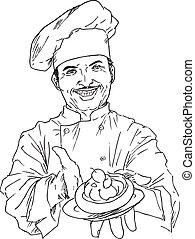 chef cuistot, dessiné, main