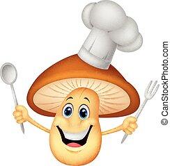 chef cuistot, dessin animé, champignon