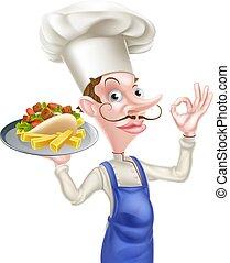 chef cuistot, dessin animé, chiche-kebab, parfait