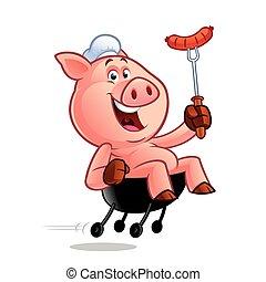 chef cuistot, dessin animé, cochon