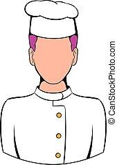 chef cuistot, dessin animé, icône
