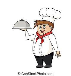chef cuistot, dessin animé, illustration