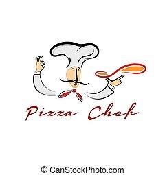 chef cuistot, dessin animé, illustration, pizza