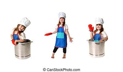 chef cuistot, enfant, triplicate