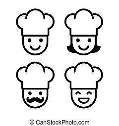 chef cuistot, ensemble, dessin animé, icône