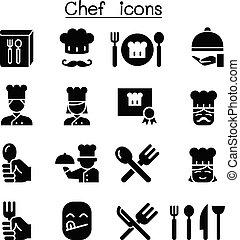 chef cuistot, ensemble, icône