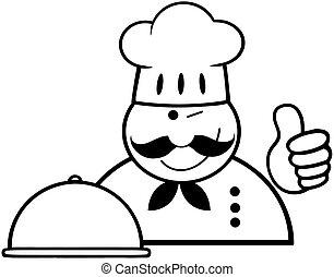 chef cuistot, esquissé, projection, haut, pouces