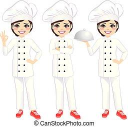 chef cuistot, femme, heureux