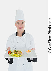 chef cuistot, femme, repas, sain, plaque, tenue