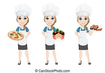 Chef Cuistot Femme Dessin Animé Pizza Femme Caractère Chef