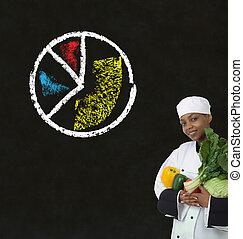 chef cuistot, femme, tableau noir, graphique circulaire, craie, américain, fond, africaine