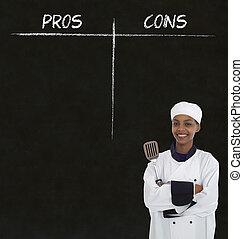 chef cuistot, femme, tableau noir, pros, craie, américain,...