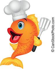 chef cuistot, fish, dessin animé
