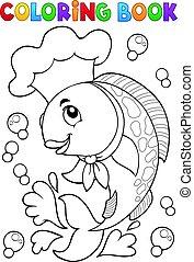 chef cuistot, fish, livre coloration
