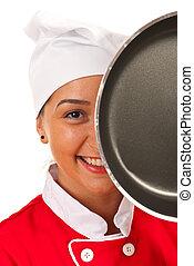 chef cuistot, friture, derrière, femme, moule
