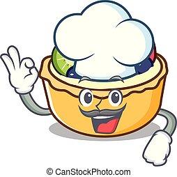 chef cuistot, fruit, caractère, dessin animé, tarte
