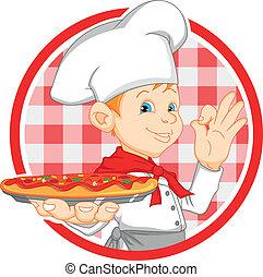 chef cuistot, garçon, dessin animé, pizza avoirs