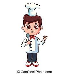 chef cuistot, garçon, dessin animé