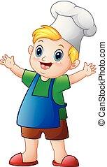 chef cuistot, garçon, peu, dessin animé