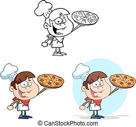 chef cuistot, garçon, tenue, collection, pizza
