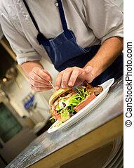 chef cuistot, gourmet, hamburger, préparer