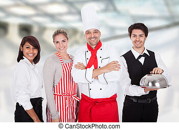 chef cuistot, groupe, serveurs