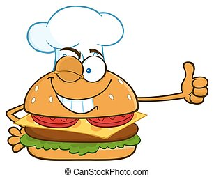chef cuistot, hamburger, cligner, caractère