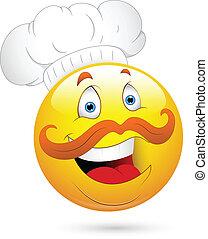 chef cuistot, heureux, visage smiley