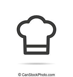 chef cuistot, icône, blanc, arrière-plan.