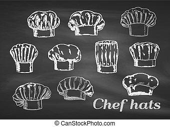 chef cuistot, icônes, chapeaux, casquettes, craie, toques