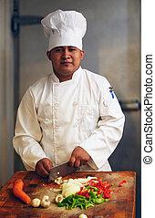 chef cuistot, légumes coupe, 2