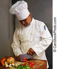 chef cuistot, légumes, découpage