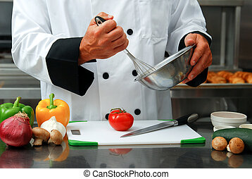chef cuistot, légumes