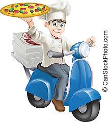 chef cuistot, livraison, vélomoteur, pizza