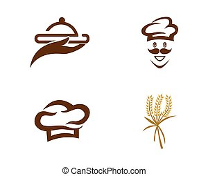 chef cuistot, logo, chapeau, gabarit