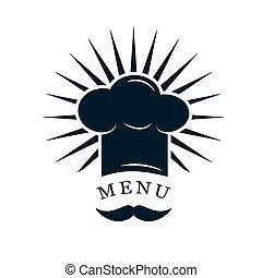 chef cuistot, logo, chapeau, moustache