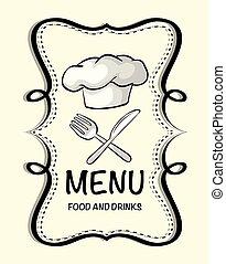 chef cuistot, logo, conception, chapeau