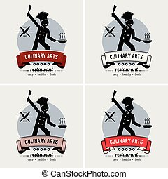 chef cuistot, logo, restaurant, design.
