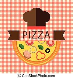 chef cuistot, logo, vecteur, chapeau, pizza