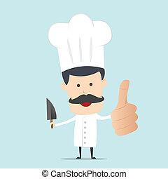 chef cuistot, mâle, couteau, main