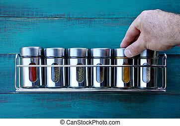 Différent, beaucoup, cuisine, tourner, pots, épices ...